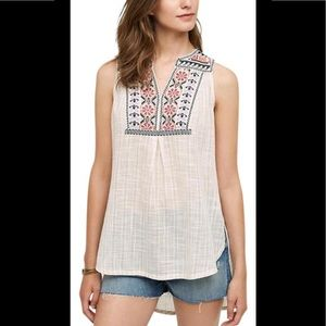 Anthro Floret 'Petra' Sleeveless Embroidered Top